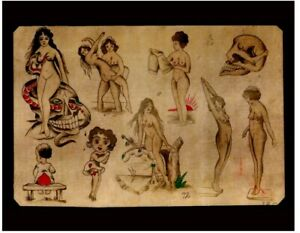 pro print 1920s antique percy waters tattoo flash snake skull pinup 11x14