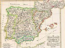 Alte Landkarte SPANIEN España Granada El nacimiento de la nación española 1854