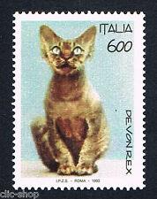 ITALIA UN FRANCOBOLLO ANIMALI GATTO DEVON REX 1993 nuovo**