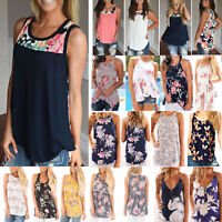 Womens Summer Floral Sleeveless Vest Tank Top Ladies Beach Casual T-shirt Blouse