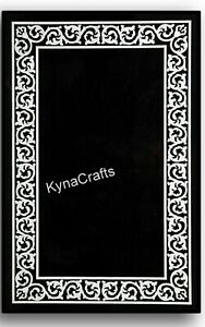 """Black Marble Dining Table Top MOP Stone Inlaid Work Sofa Table for Home 24 x 36"""""""
