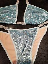 NPC/IBFF Light Blue Sequin Bikini Competition Suit