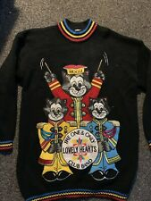 Large knit Vintage Jumper kawaii ugly sweater Lonely Hearts Club Cats Band Itakh
