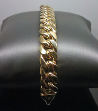 Real Men's 14K Yellow Gold Miami Cuban Bracelet 9 inch Rope,Link 8.5mm Brand New