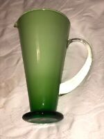 "Gorgeous Designs Creamy Green Glass Pitcher 9"" Tall With 5.25"" Opening Stamped"