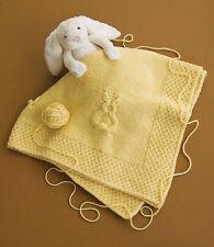 "Bunny Rabbit Baby Blanket Chunky Wool 40"" Square ~ Knitting Pattern"