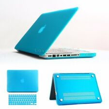 """Rugged Rubberized Case Cover & Keyboard Cover for Apple Macbook Pro 15.4"""" Blue"""