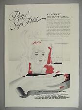 Peggy Sage Nail Polish PRINT AD - 1938 ~~ Mrs. Oliver Harriman