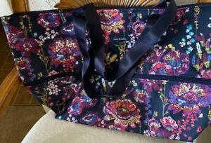 Vera Bradley Lighten Up Expandable Travel Bag Tote Midnight Wildflowers NWT