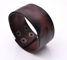 Retro Distressed Texture Mens Genuine Leather Bracelet Wide Cuff Wristband Brown
