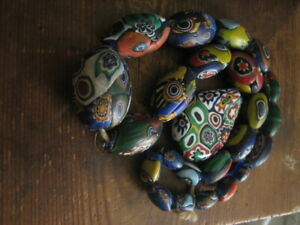 large Antique millefiori glass beads necklace for restring italy spares repairs