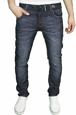 Mens Crosshatch Straight Leg Dark Blue Jeans All Waist Sizes 5 Colours Techno D/w W44- L30
