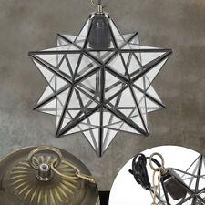 30cm Antique Moravian Star Lamp Pendant Ceiling Light Metal Glass Shade Lights
