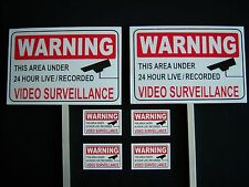 2 VIDEO SURVEILLANCE SIGNS + 4 DECALS  - 2 STAKES ..#PS-419