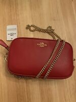 NWT Coach Pebble Leather Double Zip Chain Strap Crossbody Bag F72490 True Red