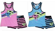 2 x Girls size 10  BLUE & PINK  SUPERGIRL summer pyjamas pjs Super Girl NEW