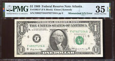1969 $1 Federal Reserve Note Mismatched Serial # F68/F67 Pmg Choice Vf 35Epq