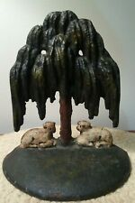 Rare Antique Cast Iron Sheep Tree Doorstop Original Paint Hubley?