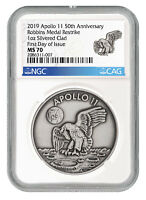 1969 2019 Apollo 11 Robbins Medal 1oz Silver Plated Medal NGC MS70 FDI SKU55123
