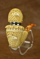 L Ornate Calabash Pipe W Wind Cap BLOCK MEERSCHAUM-NEW-HAND CARVED W Case#356