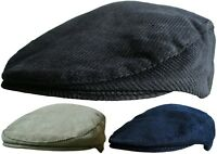 Mens Corduroy Flat Caps Peaked Outdoors Country Cord Cap Winter or Summer Hat