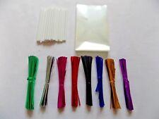 """50 x Cake Pop Kit 3.5"""" WHITE Lolly Sticks 3x5"""" Cello Bags Metallic Twist Ties"""