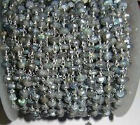 6 Feet AAA Quality Mystic Labradorite Rosary Chain 3-4mm Wire Wrap Beaded Chain