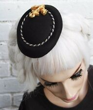 MINI BLACK ANCHOR HAT VTG 1950S STYLE RETRO LADIES 50S ROCKABILLY PINUP