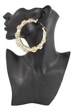Women Bamboo Earrings Gold Metal Hook Large Hoop Urban Hip Hop Fashion Jewelry