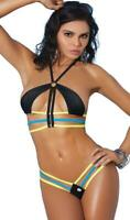Strappy Bikini Top Thong Set O Ring Racer Back Triple Strap Micro Swimsuit 82159