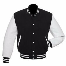 Black Wool White Real Leather Sleeves Varsity Bomber Baseball College Jackets