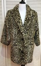 Sportowne Faux Fur Black & Ivory Animal Print Vintage 80's Coat, Size 6