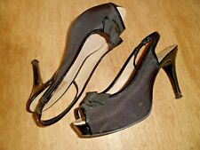 Hugo Boss Peep Toe Slingback Satén & Charol Zapatos EU 37 UK 4
