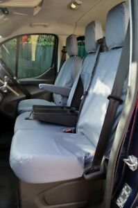 Grey Tailored Waterproof Seat Covers Front 3 for Ford Transit Custom 2013+