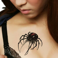 Temporary Tattoo Sticker Waterproof 3D Spider Insect Design Fake Body Art 4PCS