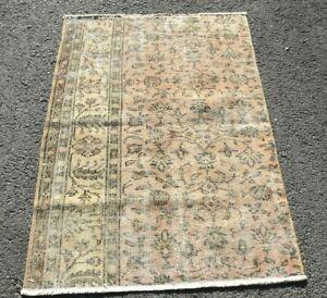 Floral Design Turkish Handmade Carpet Vintage Distressed Nomadic Wool Rug 3x4ft