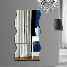 6Pcs Wave Shape Adhesive 3D Mirror Wall Stickers Decal Room Home Removable Decor