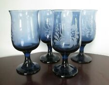 "Four PFALTZGRAFF Folk Art 8 Ounce Wine Glasses 5 1/2"""