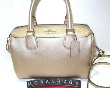 Coach F39706 Mini Bennett Satchel Crossbody Bag Metallic Platinum Gold Handbag