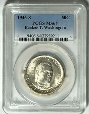 1946-S Booker T. Washington Pcgs Ms64 : Attractive White Luster & Nice Detail