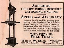 1917 A  AD warren morse hollow chisel mortiser borer machine