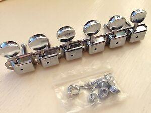 Kluson Vintage style Strat/Tele 6RH In-Line M/ Head Tuners in Chromed Nickel