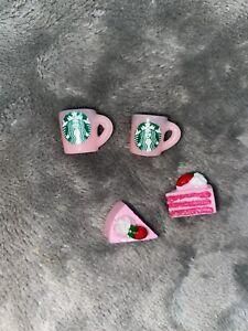 Miniature Starbucks Mugs & Cake Slices Dolls House Kitchen Drinks Accessorise