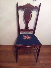 Attractive Antique Mahogany Side Chair w/Blue Needlepoint Seat