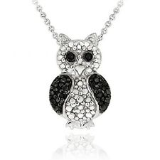 Black Diamond Accent Owl Necklace