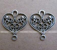 P073 15pcs Tibetan Silver Charm Peach Hearts Retro Accessories Wholesale