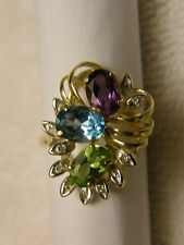 14K GOLD VINTAGE RING  AUTHENTIC MULTI COLOR STONES & DIAMONDS SCRAP OR WEAR