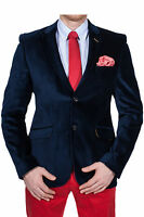 Herren Casual Sakko marine blau Zweiknopf Jacket Velours Jacke Anzug business