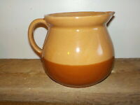 Vintage Pottery Pitcher Cabinart Bake Ware MADE IN USA 2 Tone Brown Glaze