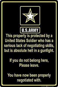 """Property Protected by Soldier U.S. Army 8"""" x 12"""" Aluminum Metal Sign"""